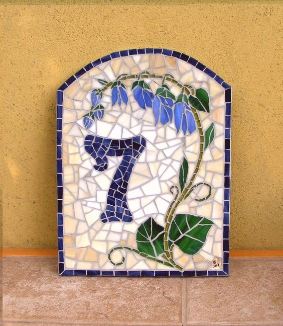 Ceramic tile house number plaques
